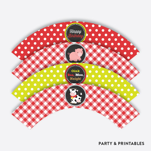 Farm Friends Chalkboard Cupcake Wrappers / Non-Personalized / Instant Download (CKB.55)