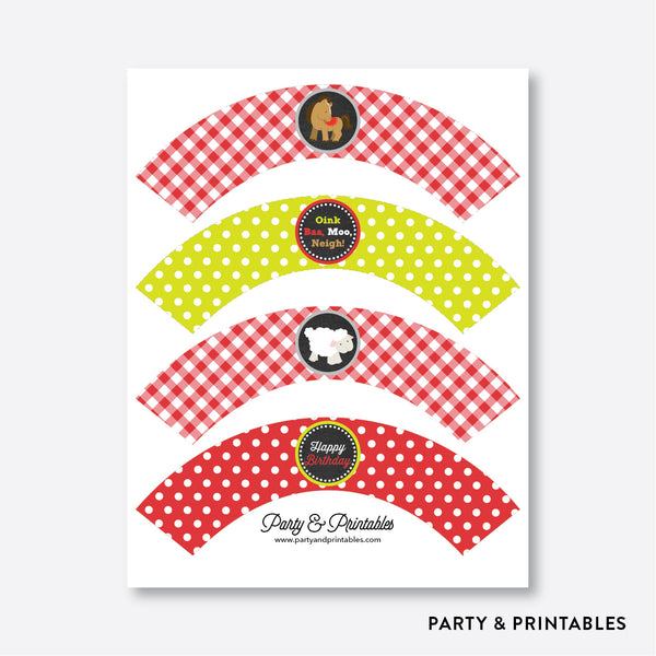 Farm Friends Chalkboard Cupcake Wrappers / Non-Personalized / Instant Download (CKB.55), party printables - Party and Printables