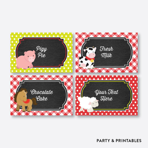 Farm Friends Chalkboard Food Labels / Editable / Instant Download (CKB.55)