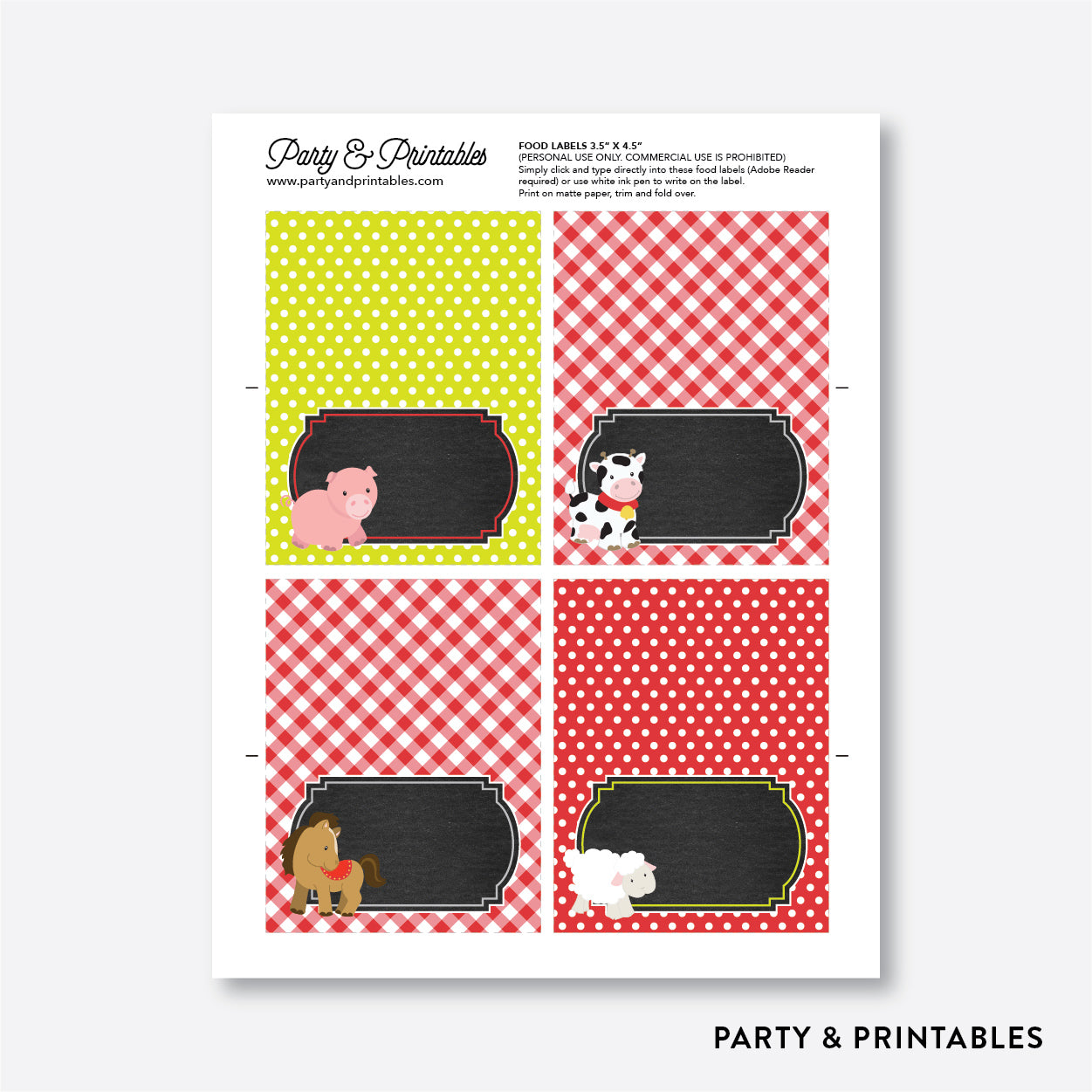 Farm Friends Chalkboard Food Labels / Editable / Instant Download (CKB.55), party printables - Party and Printables
