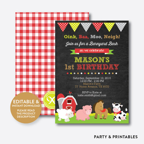 Farm Friends Chalkboard Kids Birthday Invitation / Editable / Instant Download (CKB.55)