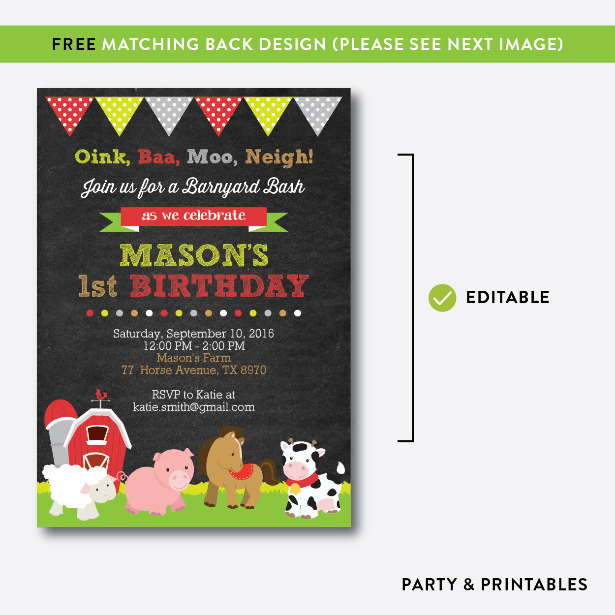 Farm Friends Chalkboard Kids Birthday Invitation / Editable / Instant Download (CKB.55), invitation - Party and Printables
