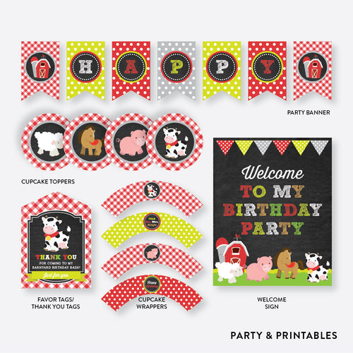 Farm Friends Chalkboard Standard Kids Birthday Party Package / Non-Personalized / Instant Download (CKB.55)