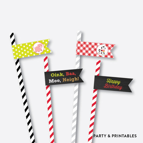 Farm Friends Chalkboard Straw Flags / Non-Personalized / Instant Download (CKB.55)