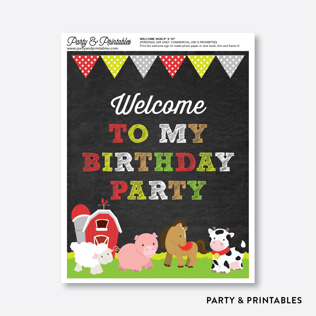 Farm Friends Chalkboard Welcome Sign / Non-Personalized / Instant Download (CKB.55), party printables - Party and Printables