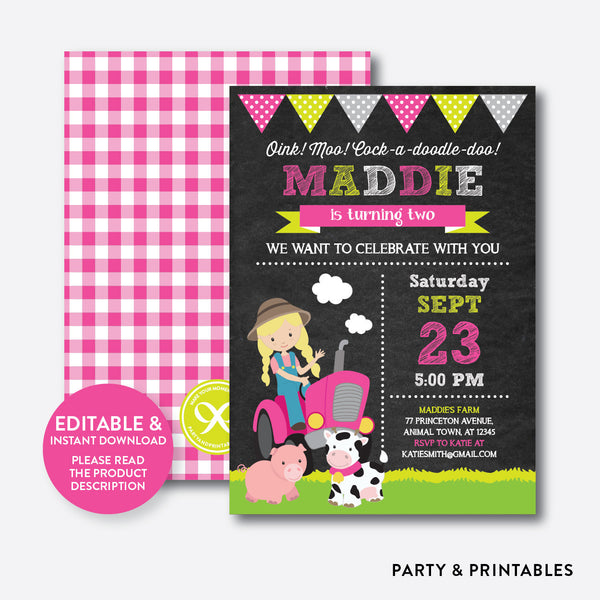 Farmer Chalkboard Kids Birthday Invitation / Editable / Instant Download (CKB.57B), invitation - Party and Printables
