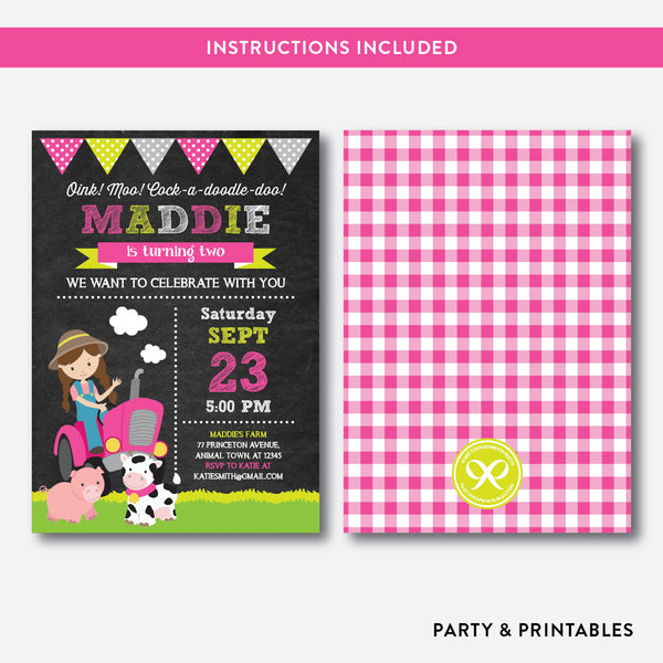 Farmer Chalkboard Kids Birthday Invitation / Editable / Instant Download (CKB.57), invitation - Party and Printables
