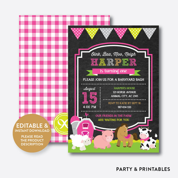 Farm Friends Chalkboard Kids Birthday Invitation / Editable / Instant Download (CKB.58B), invitation - Party and Printables