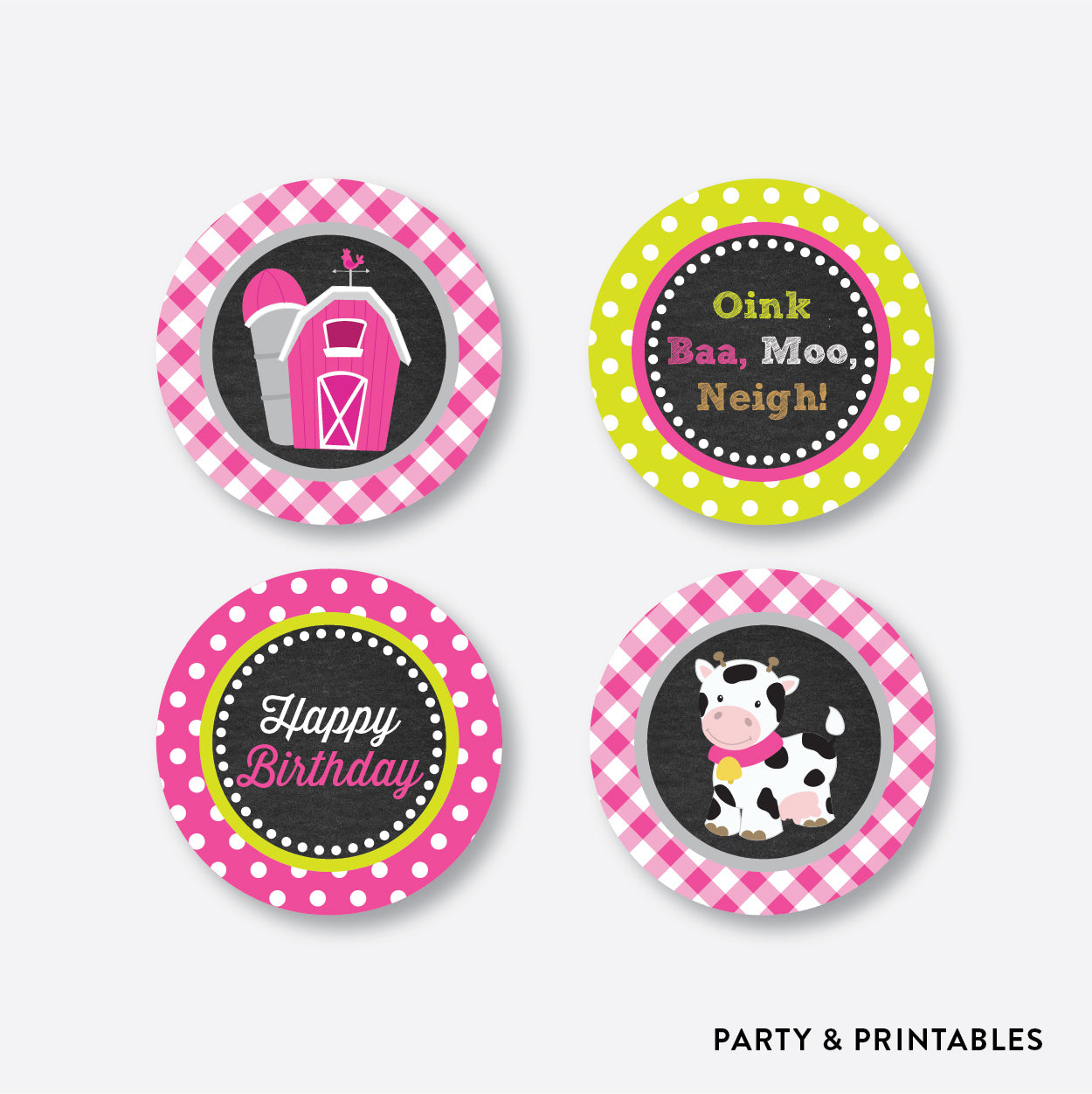 Farm Friends Chalkboard Cupcake Toppers / Non-Personalized / Instant Download (CKB.58), party printables - Party and Printables