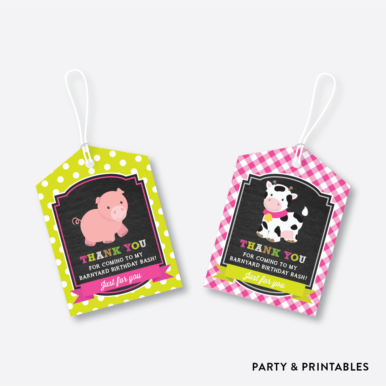 Farm Friends Chalkboard Favor Tags / Non-Personalized / Instant Download (CKB.58), party printables - Party and Printables