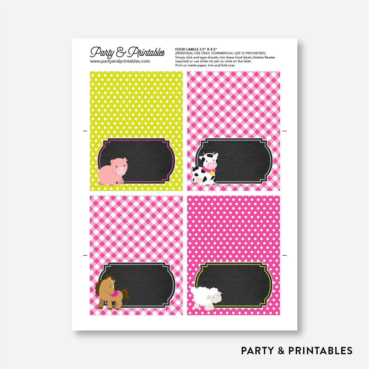 Farm Friends Chalkboard Food Labels / Editable / Instant Download (CKB.58), party printables - Party and Printables