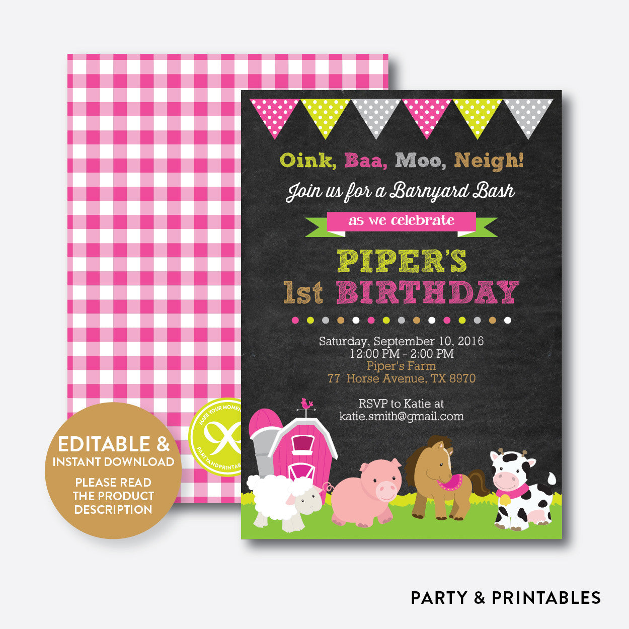 Farm Friends Chalkboard Kids Birthday Invitation Editable Instant Download CKB58