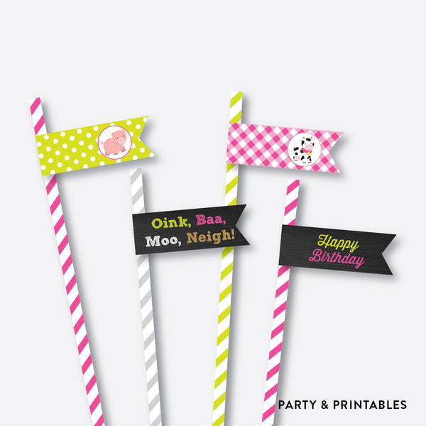 Farm Friends Chalkboard Straw Flags / Non-Personalized / Instant Download (CKB.58), party printables - Party and Printables