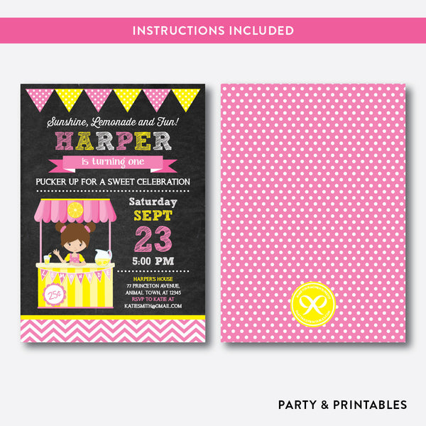 Pink Lemonade Stand Chalkboard Kids Birthday Invitation / Editable / Instant Download (CKB.59), invitation - Party and Printables