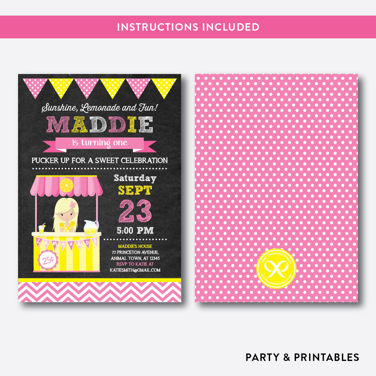 Pink Lemonade Stand Chalkboard Kids Birthday Invitation / Editable / Instant Download (CKB.60B), invitation - Party and Printables