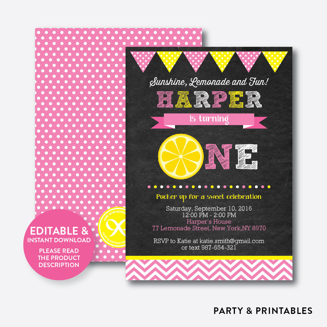 Pink Lemonade Chalkboard 1st Birthday Invitation / Editable / Instant Download (CKB.63), invitation - Party and Printables