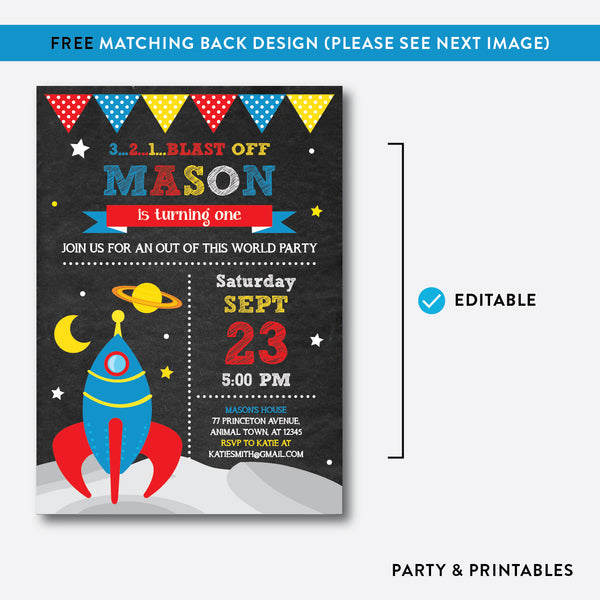 Outer Space Chalkboard Kids Birthday Invitation / Editable / Instant Download (CKB.64B), invitation - Party and Printables