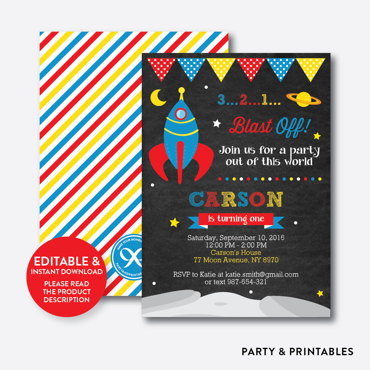 Outer Space Chalkboard Kids Birthday Invitation / Editable / Instant Download (CKB.64), invitation - Party and Printables