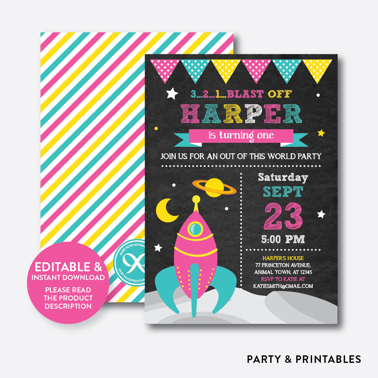 Outer Space Chalkboard Kids Birthday Invitation / Editable / Instant Download (CKB.65B), invitation - Party and Printables