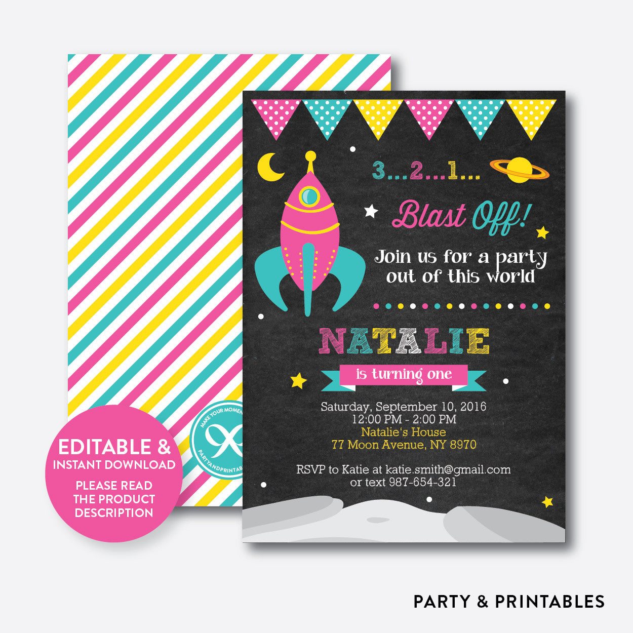 Outer Space Pink Chalkboard Kids Birthday Invitation / Editable / Instant Download (CKB.65)