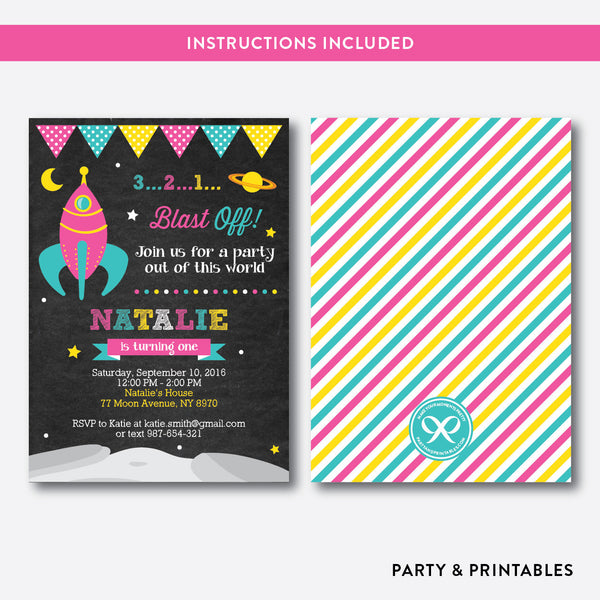 Outer Space Chalkboard Kids Birthday Invitation / Editable / Instant Download (CKB.65)