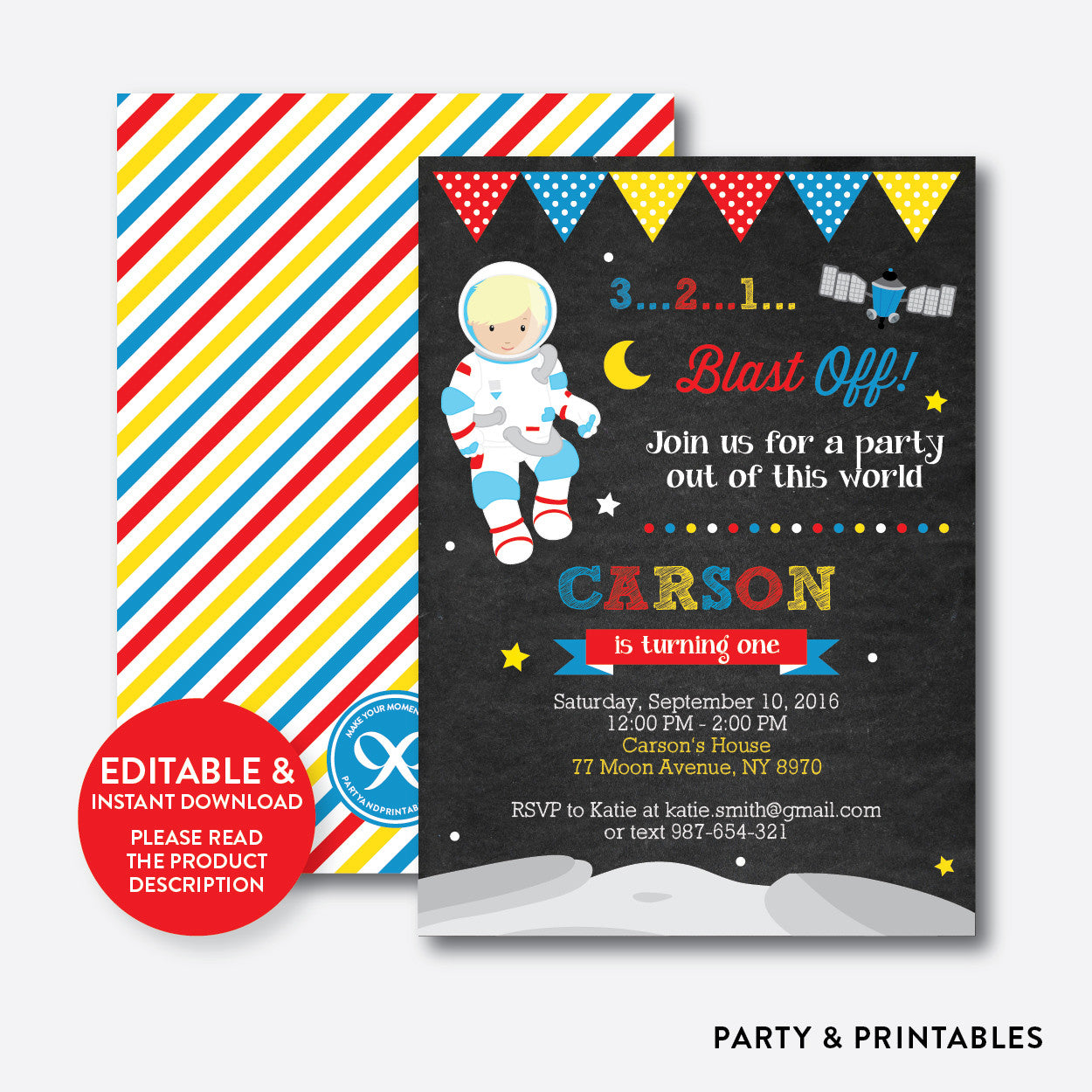 Astronaut Chalkboard Kids Birthday Invitation / Editable / Instant Download (CKB.66B), invitation - Party and Printables