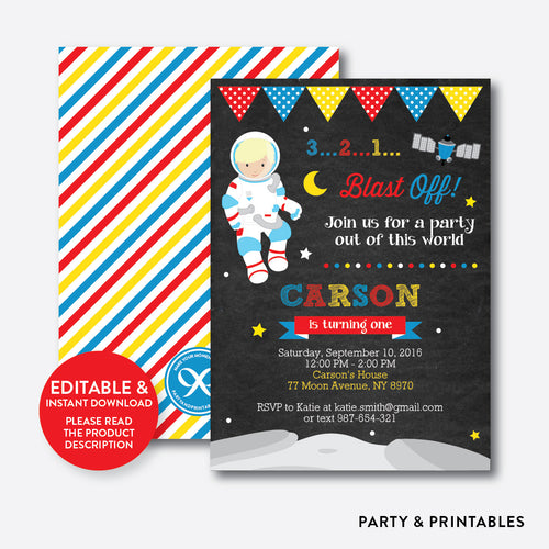 Astronaut Chalkboard Kids Birthday Invitation / Editable / Instant Download (CKB.66B)