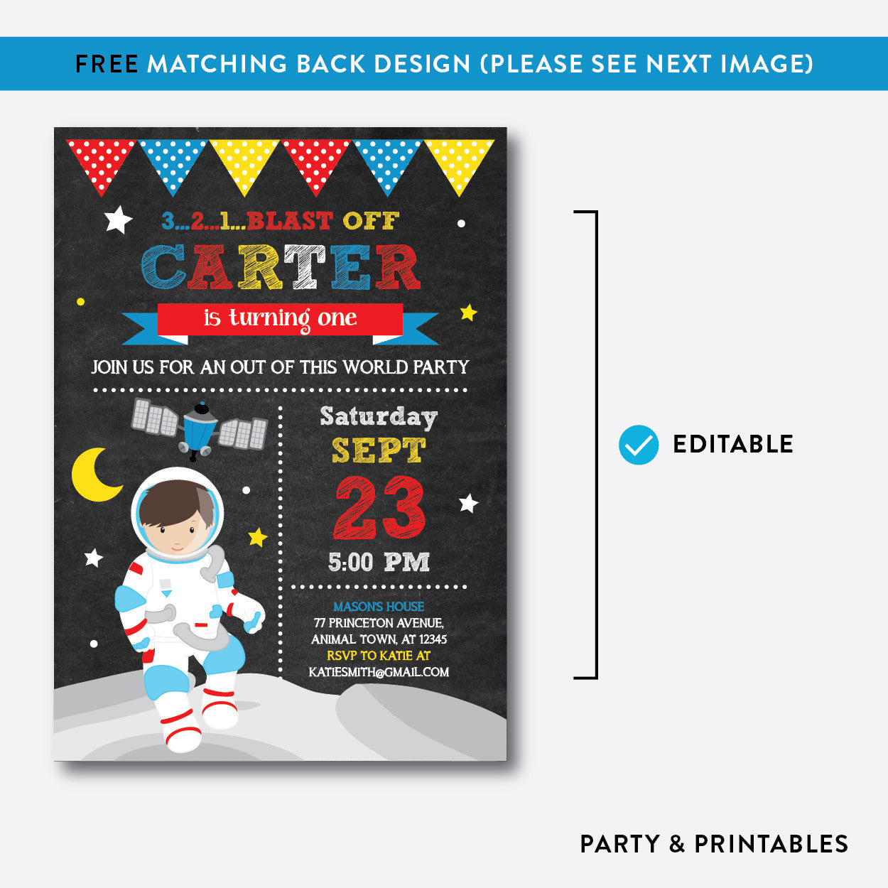 Astronaut Chalkboard Kids Birthday Invitation / Editable / Instant Download (CKB.66C), invitation - Party and Printables