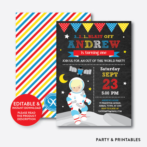 Astronaut Chalkboard Kids Birthday Invitation / Editable / Instant Download (CKB.66D)