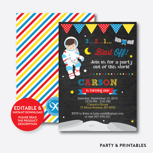 Astronaut Chalkboard Kids Birthday Invitation / Editable / Instant Download (CKB.66)