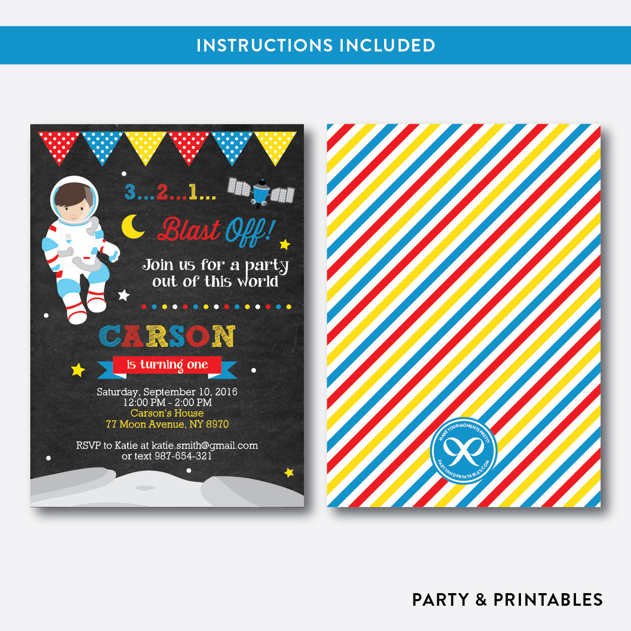 Astronaut Chalkboard Kids Birthday Invitation / Editable / Instant Download (CKB.66), invitation - Party and Printables