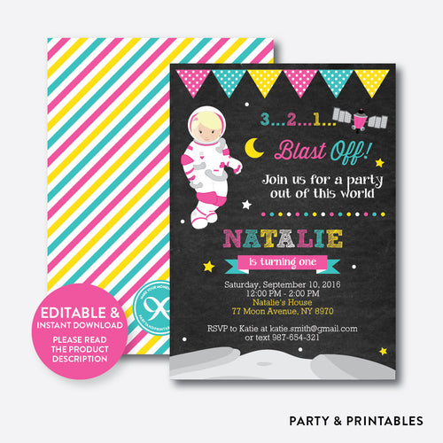 Astronaut Girl Chalkboard Kids Birthday Invitation / Editable / Instant Download (CKB.67B)