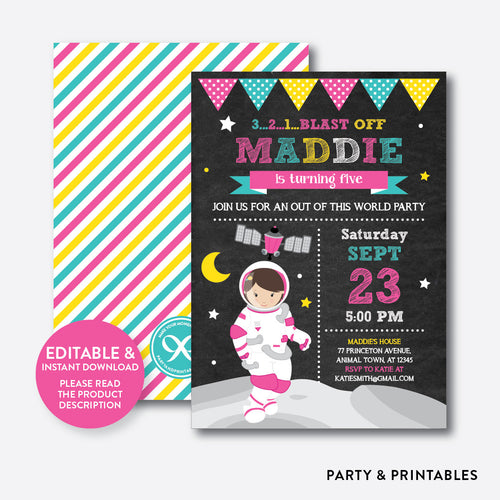 Astronaut Girl Chalkboard Kids Birthday Invitation / Editable / Instant Download (CKB.67C)