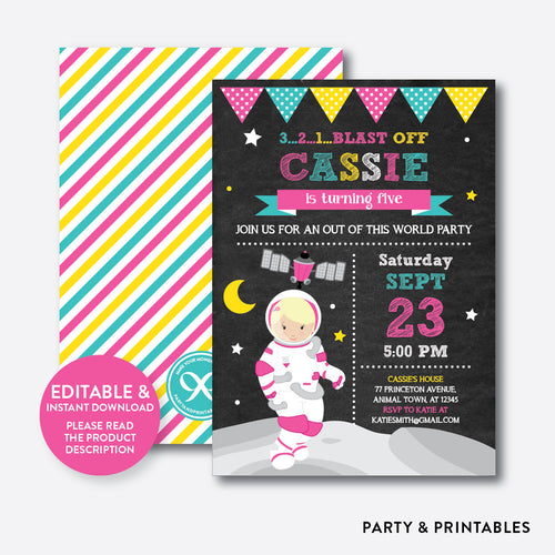 Astronaut Girl Chalkboard Kids Birthday Invitation / Editable / Instant Download (CKB.67D)