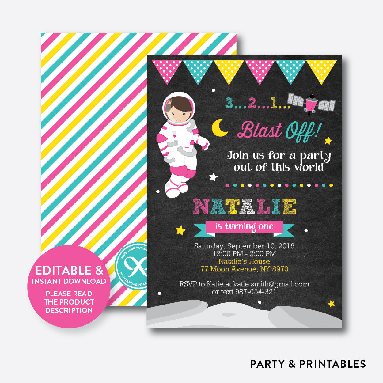 Astronaut Girl Chalkboard Kids Birthday Invitation / Editable / Instant Download (CKB.67)