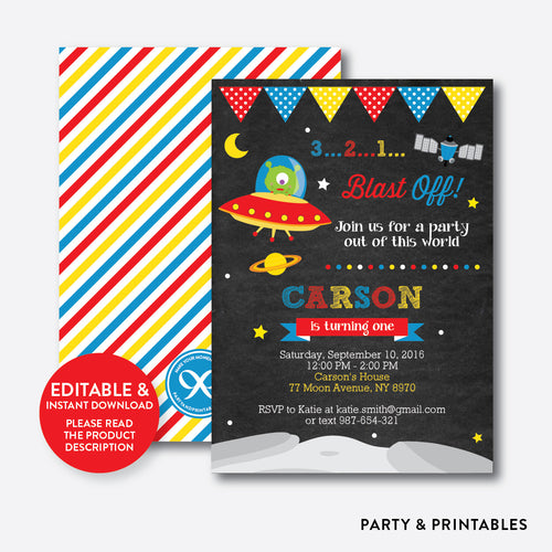 Alien Chalkboard Kids Birthday Invitation / Editable / Instant Download (CKB.68)