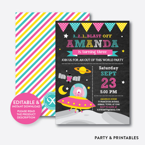 Alien Pink Chalkboard Kids Birthday Invitation / Editable / Instant Download (CKB.69B)