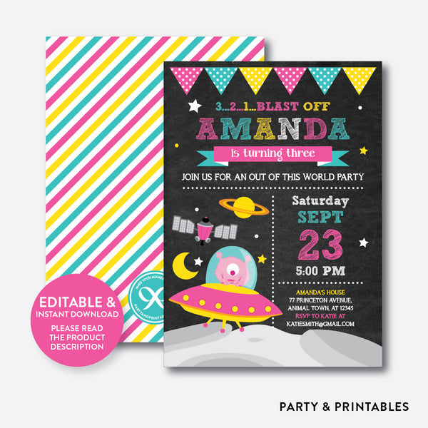 Alien Chalkboard Kids Birthday Invitation / Editable / Instant Download (CKB.69B), invitation - Party and Printables