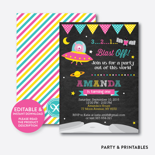 Alien Pink Chalkboard Kids Birthday Invitation / Editable / Instant Download (CKB.69)