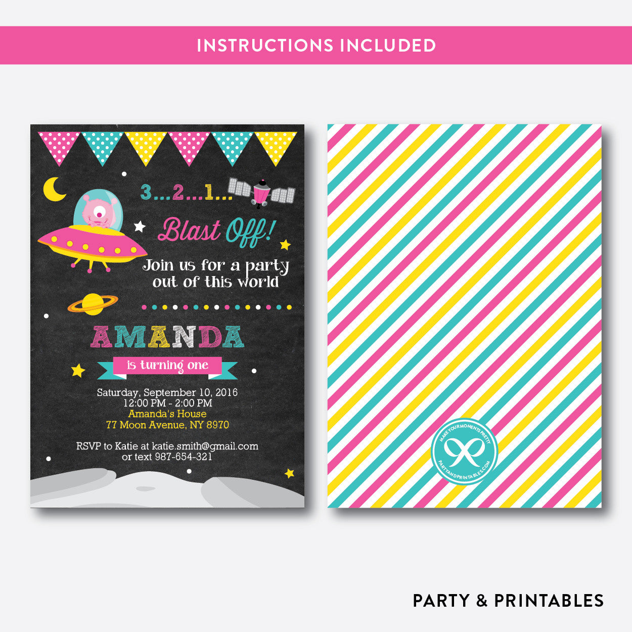 Alien Chalkboard Kids Birthday Invitation / Editable / Instant Download (CKB.69), invitation - Party and Printables