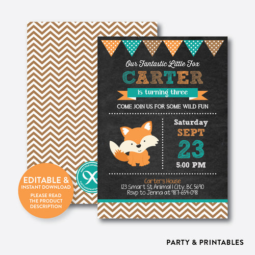 Fox Chalkboard Kids Birthday Invitation / Editable / Instant Download (CKB.71)