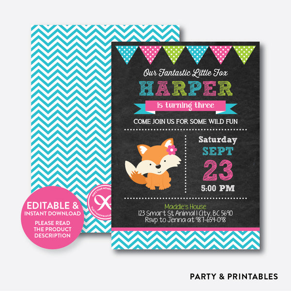 Fox Chalkboard Kids Birthday Invitation / Editable / Instant Download (CKB.72), invitation - Party and Printables