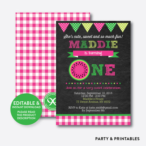 Watermelon Chalkboard 1st Birthday Invitation / Editable / Instant Download (CKB.73B)
