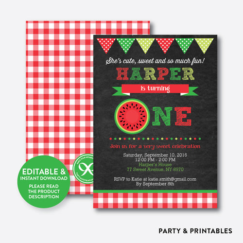Watermelon Chalkboard 1st Birthday Invitation / Editable / Instant Download (CKB.74B)