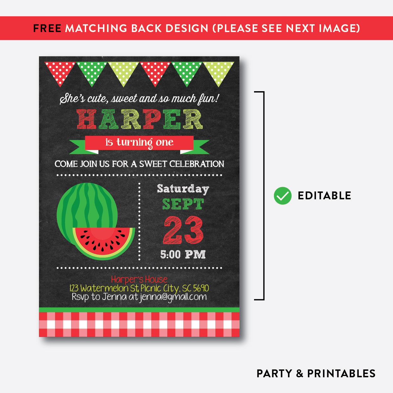 Watermelon Chalkboard Kids Birthday Invitation / Editable / Instant Download (CKB.74), invitation - Party and Printables