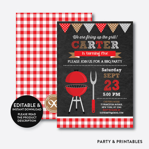 BBQ Chalkboard Kids Birthday Invitation / Editable / Instant Download (CKB.75B)