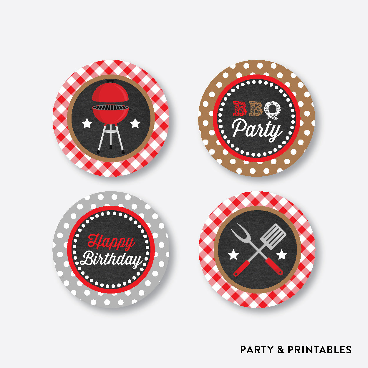 BBQ Chalkboard Cupcake Toppers / Non-Personalized / Instant Download (CKB.75), party printables - Party and Printables