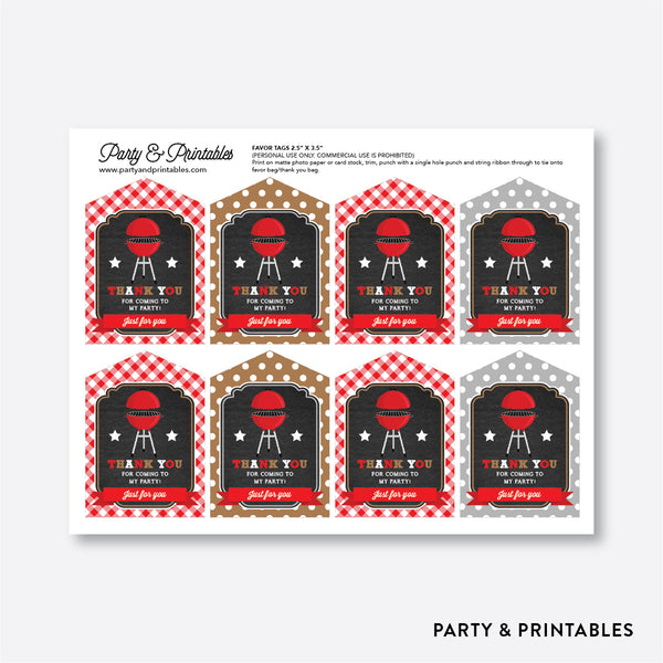 BBQ Chalkboard Favor Tags / Non-Personalized / Instant Download (CKB.75), party printables - Party and Printables