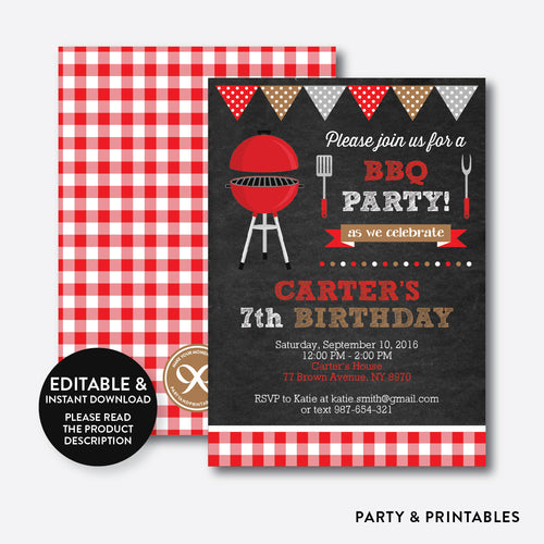 BBQ Chalkboard Kids Birthday Invitation / Editable / Instant Download (CKB.75)
