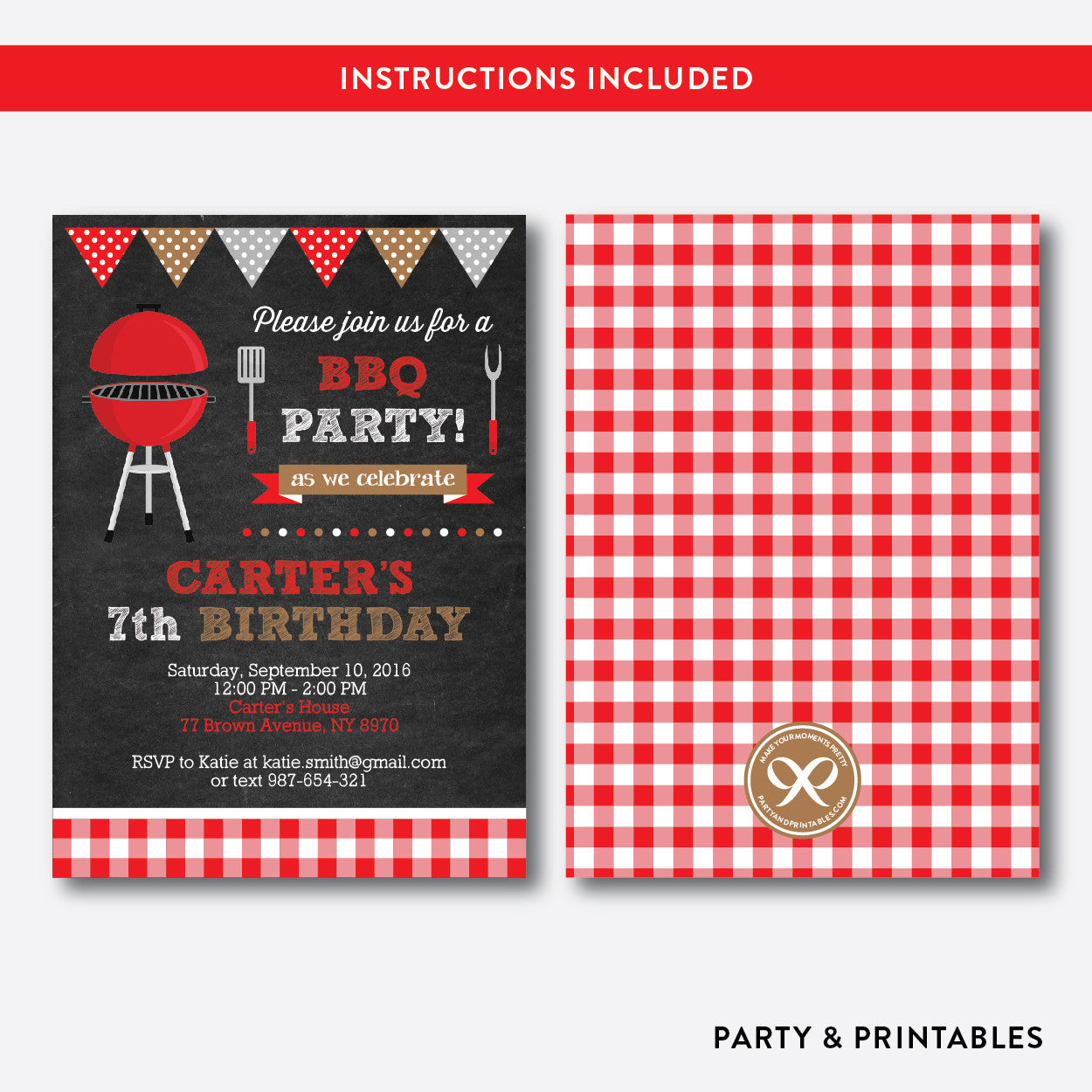 BBQ Chalkboard Kids Birthday Invitation / Editable / Instant Download (CKB.75), invitation - Party and Printables
